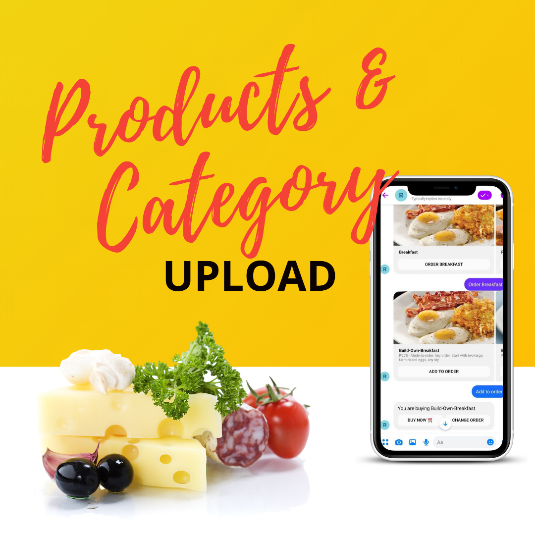 products and category upload for restaurant chatbots